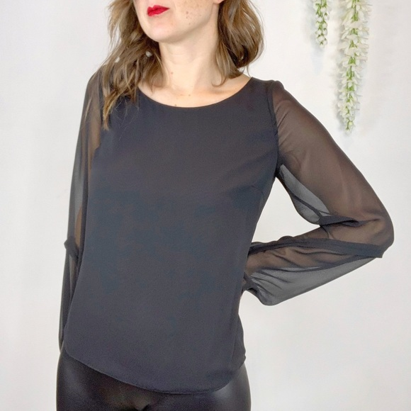 ERIN FETHERSTONE black top sheer long sleeve 1452